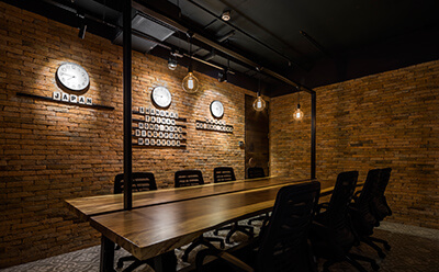 Bricks in the office interior design
